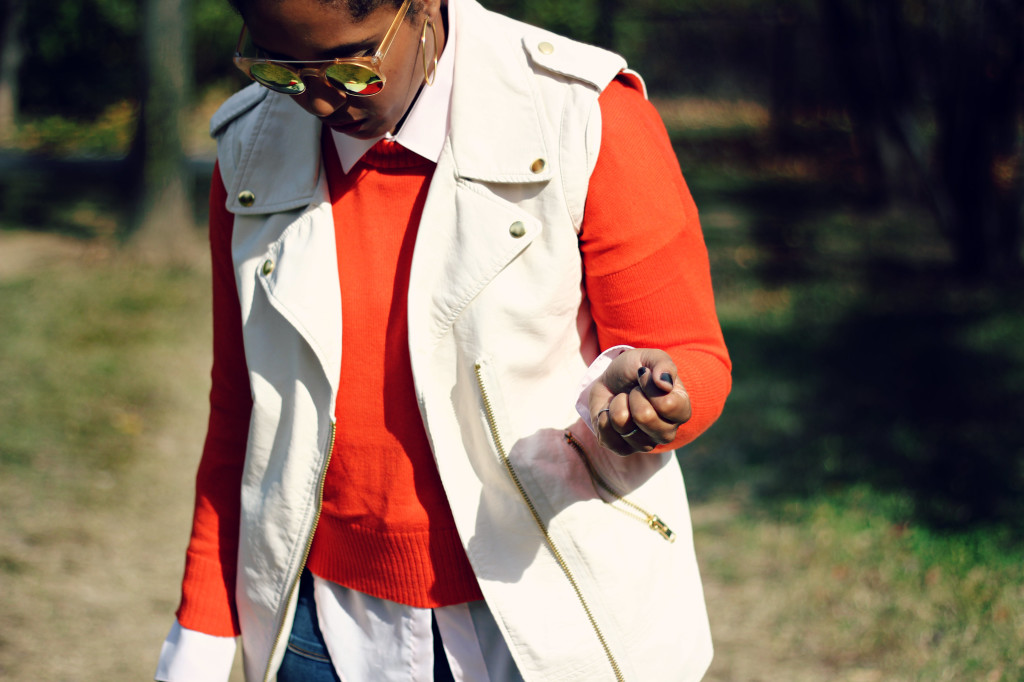 leather vest orange sweater fall style- comme coco