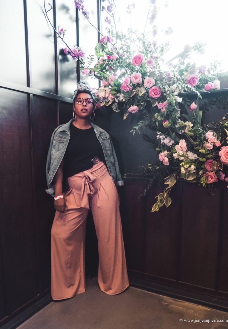 top washington dc blogger spring styles pink wide leg pants headwraps denim jacket-3