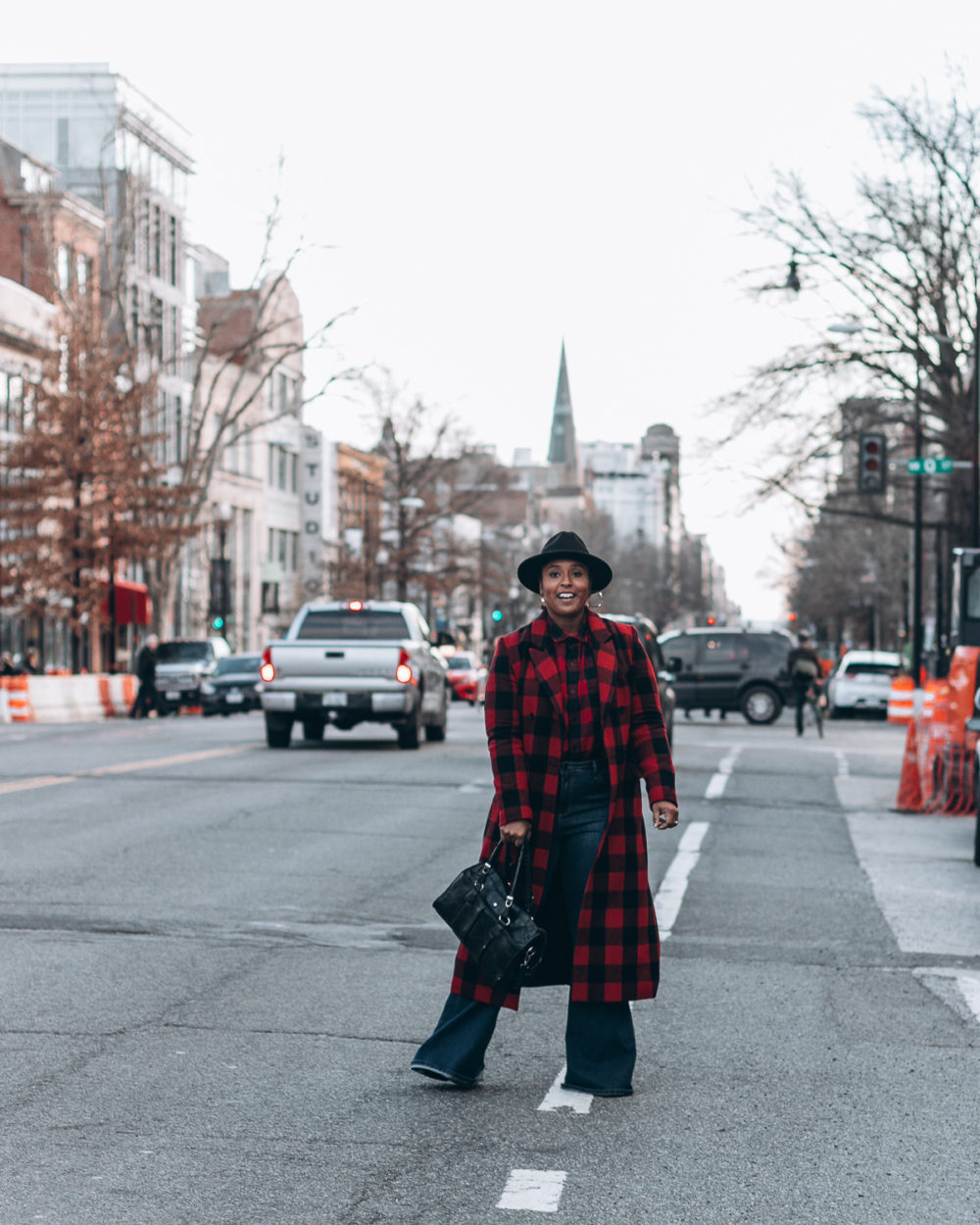 top baltimore blogger wearing bold prints buffalo check walking in the  streets of dc bell bottom 763ca318bed1