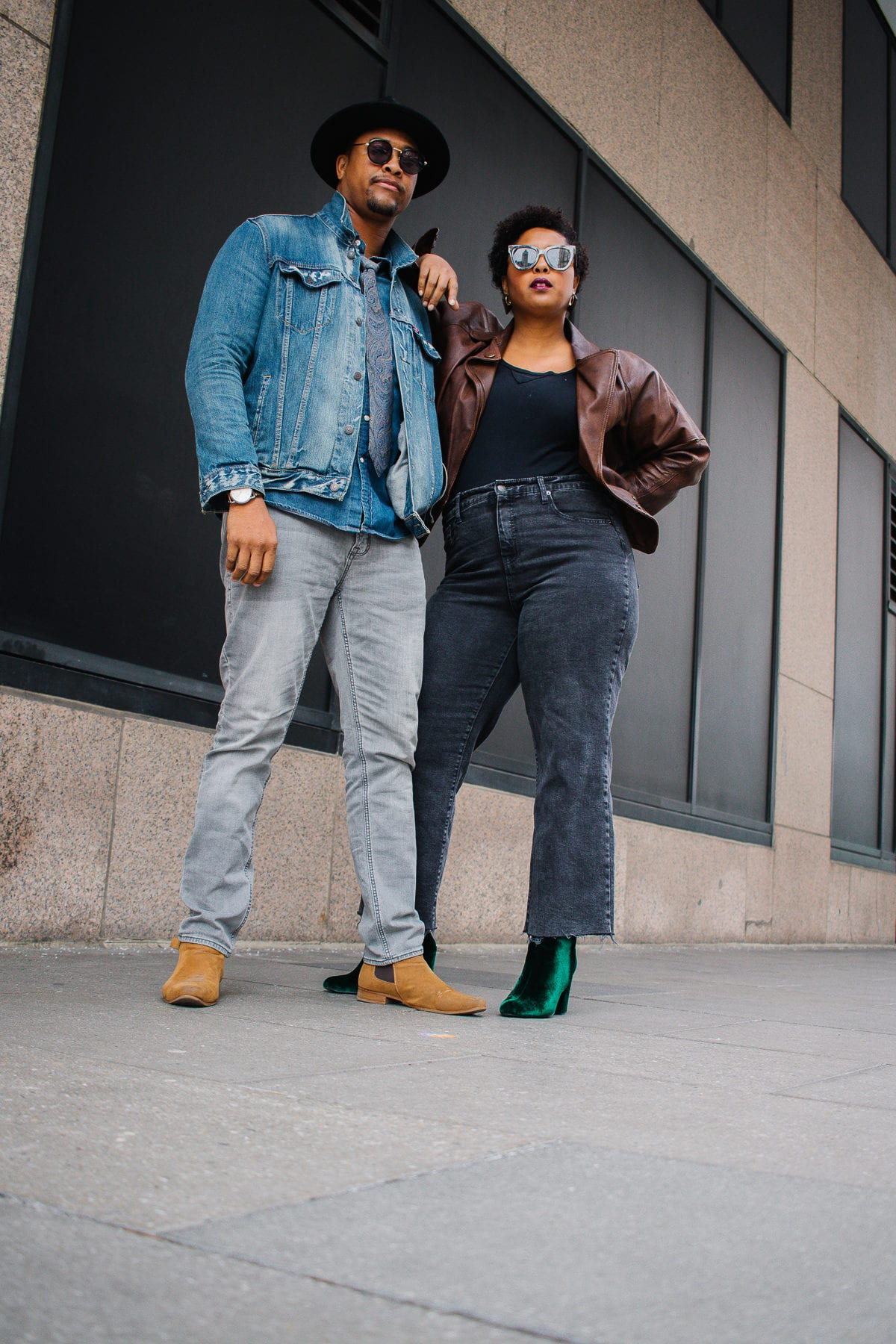 washington dc top style couple showing how to wear denim on denim and black cropped pants-6