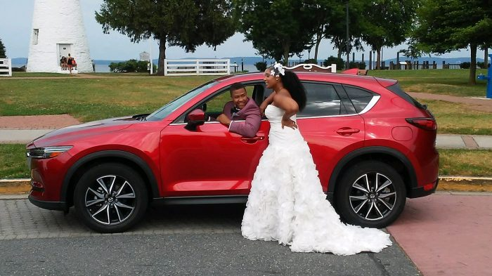 driving the mazda cx-5 for top fashion bloggers wedding